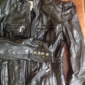 Xhilaration Jackets & Coats - Faux Leather Puff Sleeve Moto Ruched Jacket SzJrsM